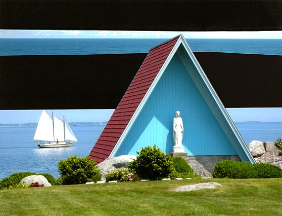 Horizontal stripes of green grass, blue water and black, surround A-frame shrine with turquoise interior